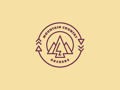 Mountain Country Archers simple branding illustration design vector line art logo patch design identity brand logos color logo