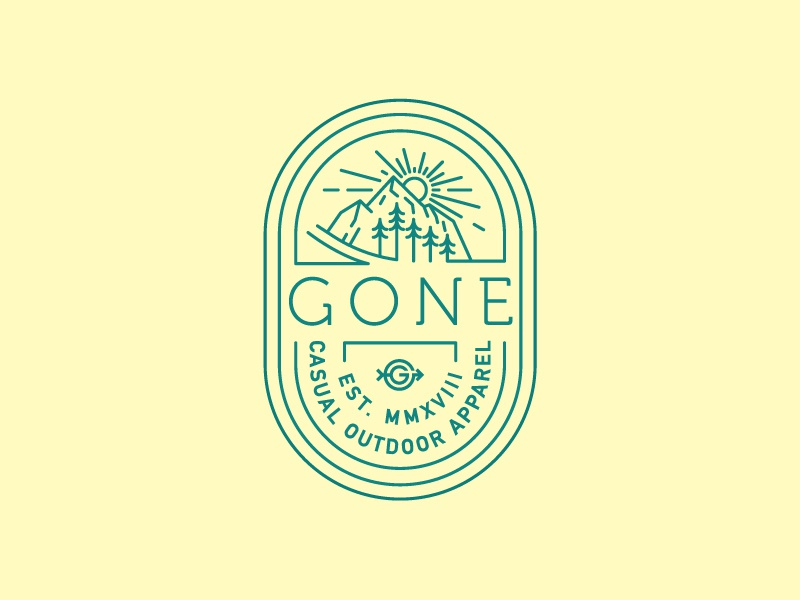 Gone Shirt/Badge badge design line art simple illustration apparel design shirt design shirt design color logo