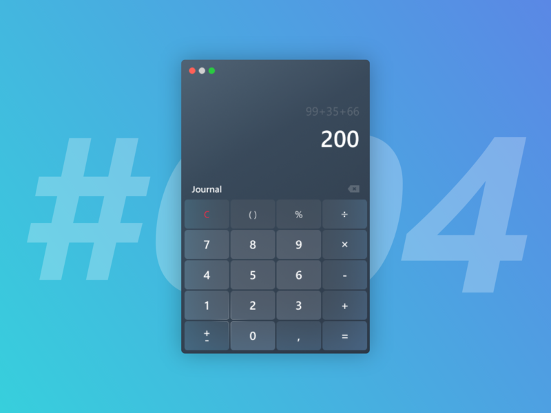 DailyUI #004 Calculator mac app modern dailyui 004 desktop calculator ui calculator mac ios design ui ux interface