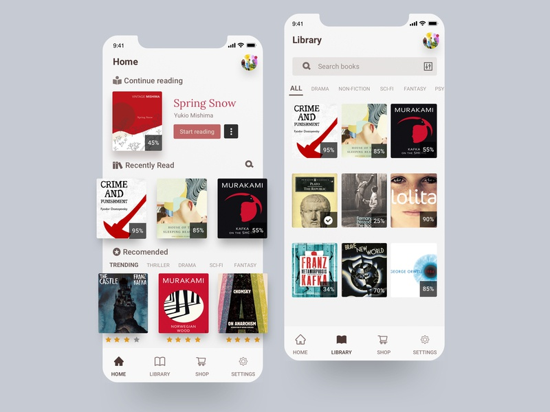 e-book app for iphone illustration application design fiction literature book app ios sketch ui mobile iphone x app reading books reader ebook