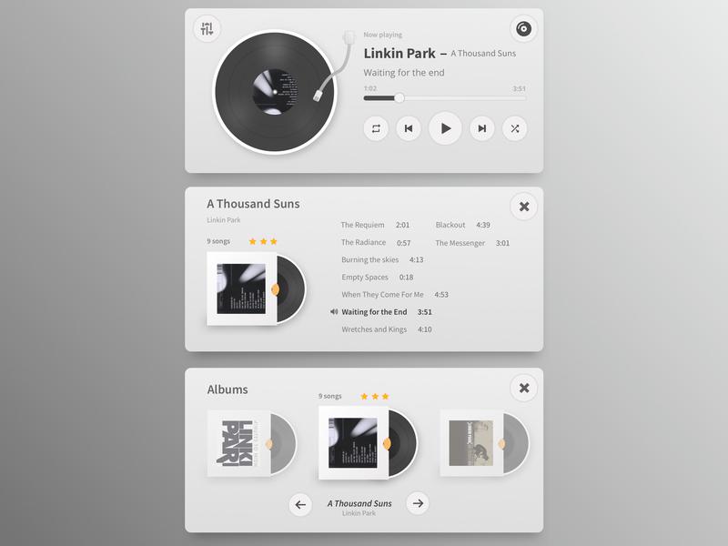 Minimalistic Music player widget simple web design web design user interface sketch ux  ui minimalism record cover record player metallic widget music player music app music