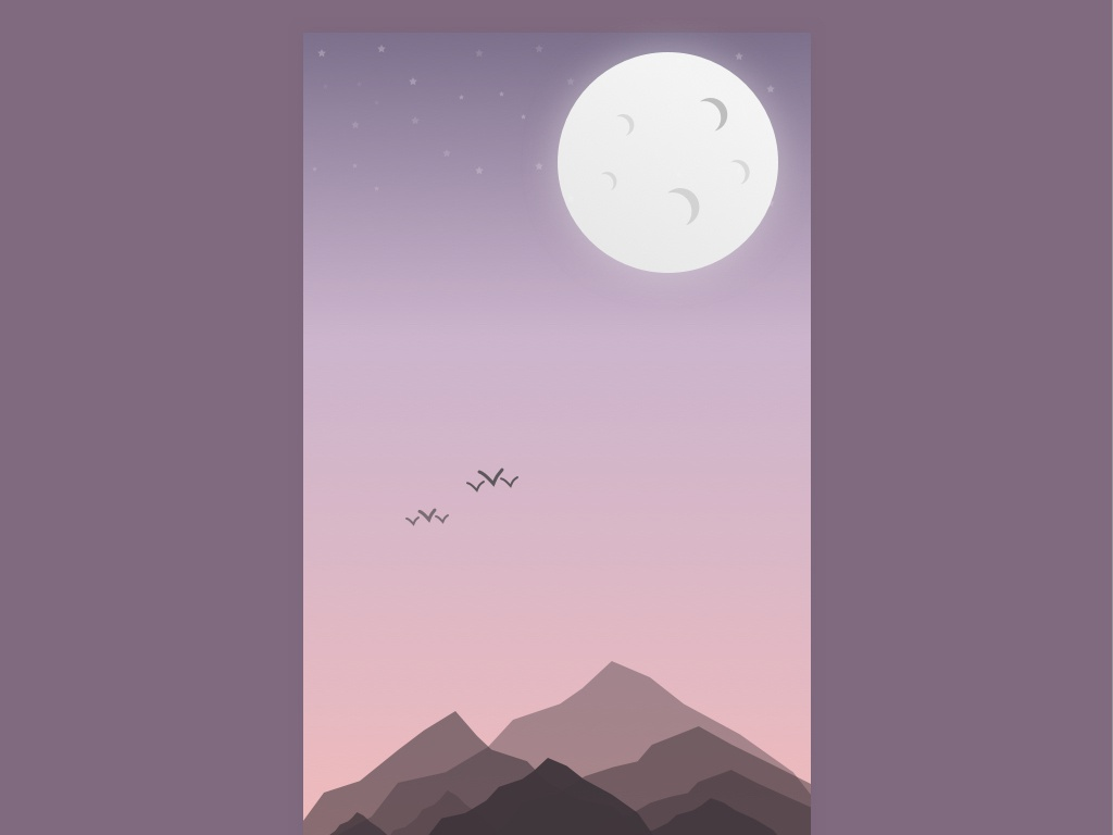 Hazy night illustration vector art experimental artwork art sketchapp minimalism night moon gradient illustration mountains pink hazy
