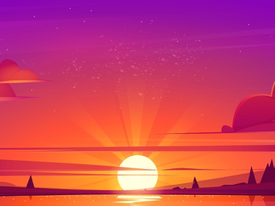 The sunset landscape reflection sky clouds forest sea water orange red vector background cartoon sun landscape sunset