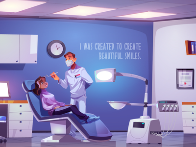 Dentist's office treatment interior office doctor girl character background illustration vector cartoon dentist