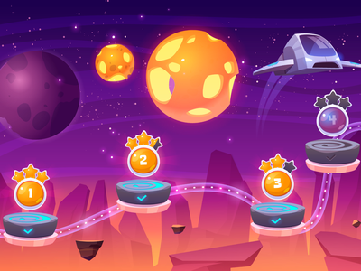 Level map design spaceship platform game background illustration vector cartoon planet map level space