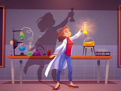 Scientific discovery! woman background girl design character illustration vector cartoon vaccine light chemical discovery science