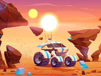 Space exploration design background illustration vector cartoon day future car explore planer mars space