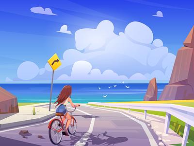 Summer trip background character illustration vector cartoon woman girl landscape road day water sea ocean cloud trip summer