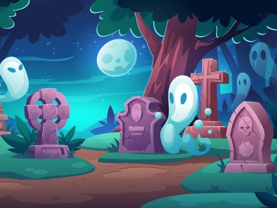 Ghosts character design background illustration vector cartoon moon scary halloween night cementary ghost