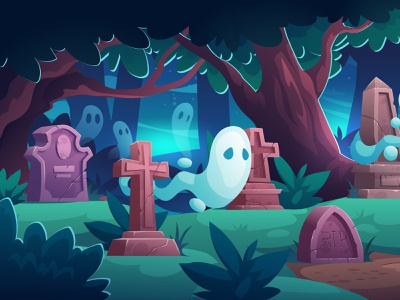 Ghosts character design background illustration vector cartoon lanscape sky wood cute halloween night cementary ghost