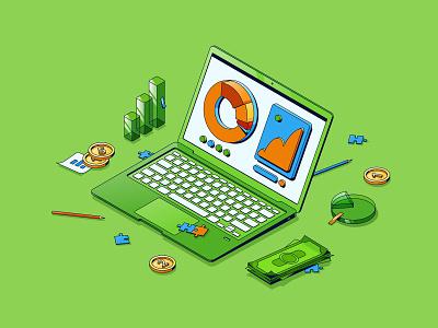 Statistics isometric website app business isometric green investment money graphic laptop statistics