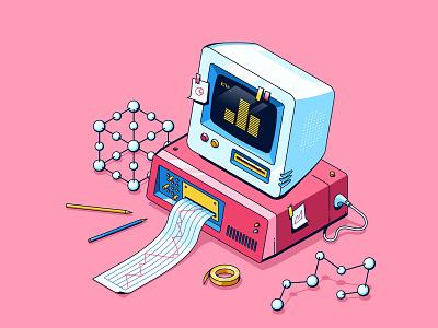 retro pc statistics isometric pink cute old retro modern computer pc