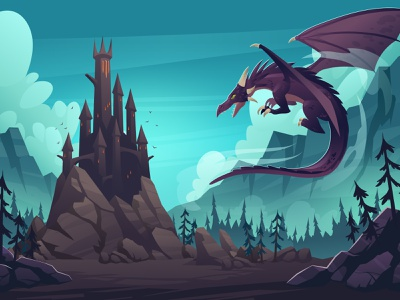 The darkness castle with a dragon character background illustration vector cartoon mountain rock forest night dark castle dragon