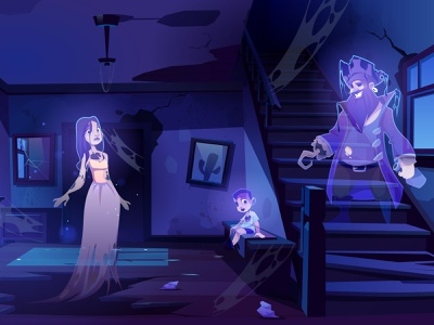The ghosts girl boy pirate character design background illustration vector cartoon halloween scary old room interior night ghosts ghost