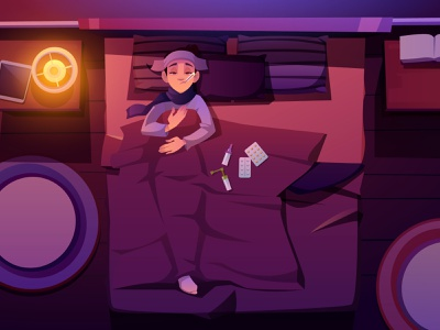 A sick woman virus covid19 bedroom girl woman view top treat pills temperature night illness sick