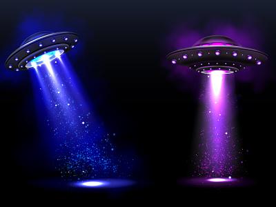 Ufo vector realistic neon night design background illustration light realistic vector ufo