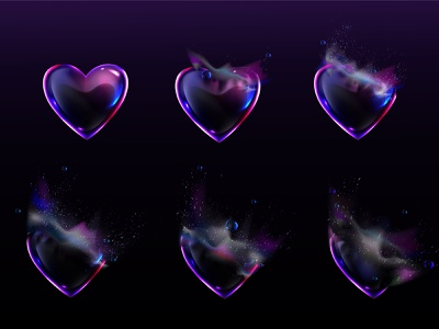 The heart bubble animation process. Vector realistic process animation design background illustration splash bubble 14 february love heart realistic vector