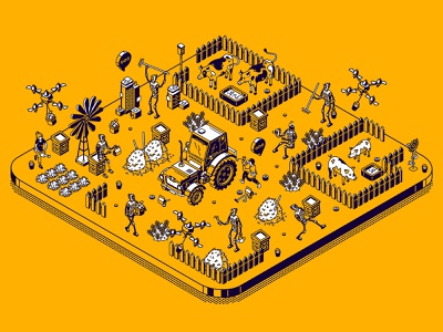 Smart farming. The yellow isometric drone robots robot smart farming yellow isometric design background cartoon illustration vector