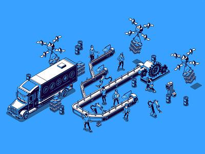 The conveyor belt. Blue isometric isometric illustration vector logistic delivery car fabrics robot drone conveyor belt conveyor