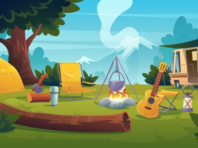 The camping cute character design background cartoon illustration vector guitar tree campfire montains camping camp