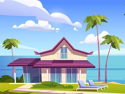 Modern bungalow on a resort island. summer palm trees island ocean cottage beach resort bungalow illustration vector cartoon