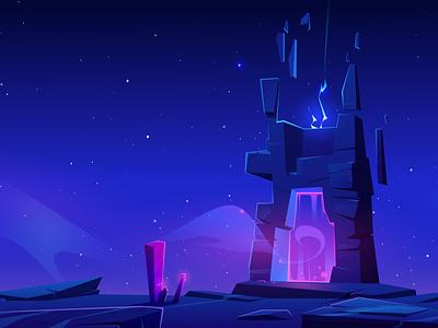 Magic portal at night. Vector cartoon fantasy illustration planet energy mystic alien fantasy portal magic vector illustration background cartoon