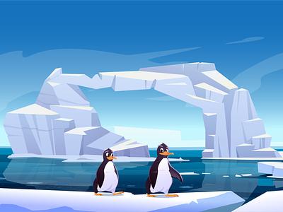 Penguins. Cartoon Arctic landscape animal illustration vector cartoon landscape arctic penguin