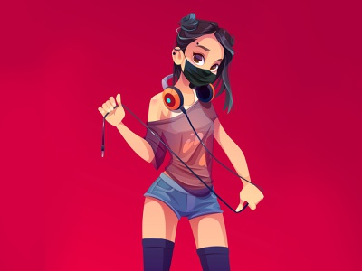The quarantine party. Stylish dj woman with covid medicine mask music headphone hair black red background illustration cute mask covid19 party club night girl vector cartoon dj woman character