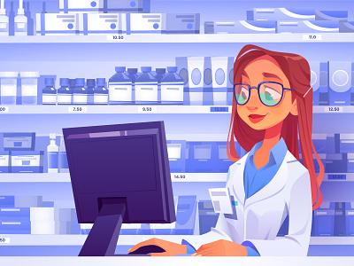 A pharmacist online store shelf girl character design background cartoon illustration vector vec covid pharmacist drugs pharmacy