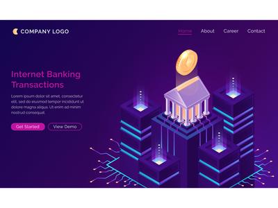 Online internet banking transaction, isometric finance concept v
