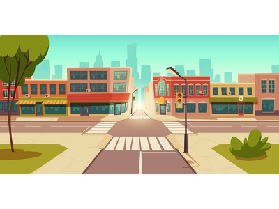 Urban street landscape with retro residential buildings with caf facade exterior environment design day crosswalk crossing colorful cloud cityscape city center cartoon cafe business building blue beauty background area