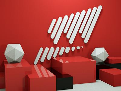 Misbahedm logo in Red 3d logo