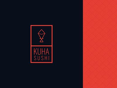 Kuha Sushi japonese food restaurant type branding lettering design logo
