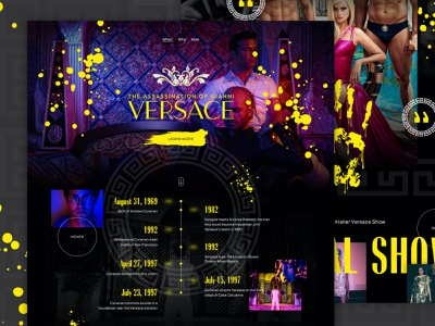 Gianni Versace — Mocktober 2020 dribbbleweeklywarmup fashion elegant seagulls dark mode vibrant design neon versace website ux ui landing page concept mocktober2020 mocktober halloween