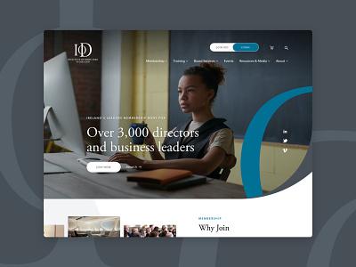 Institute of Directors Ireland - Website ireland leaders business institute corporate directors mobile ux blue simple desktop color graphic design design ui
