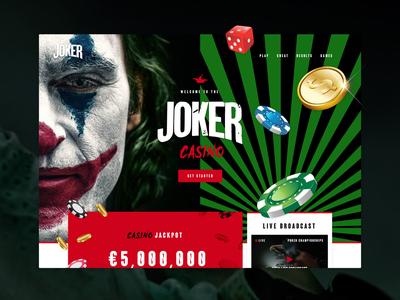 Joker Casino - Mocktober 2019 game play mockup visual black red jokermovie movie poker gambling casino joker halloween mocktober2019 mocktober desktop color design graphic design ui
