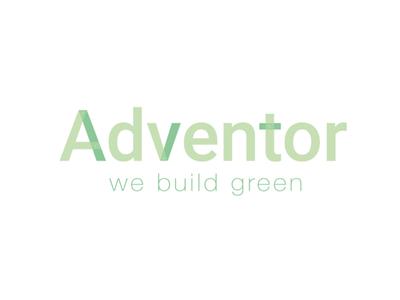 Logo Adventor green build typo corporate logo design brand identity identity construction branding design greenbuilding logo