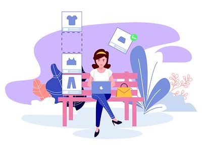 e-commerce platform ux ui illustration