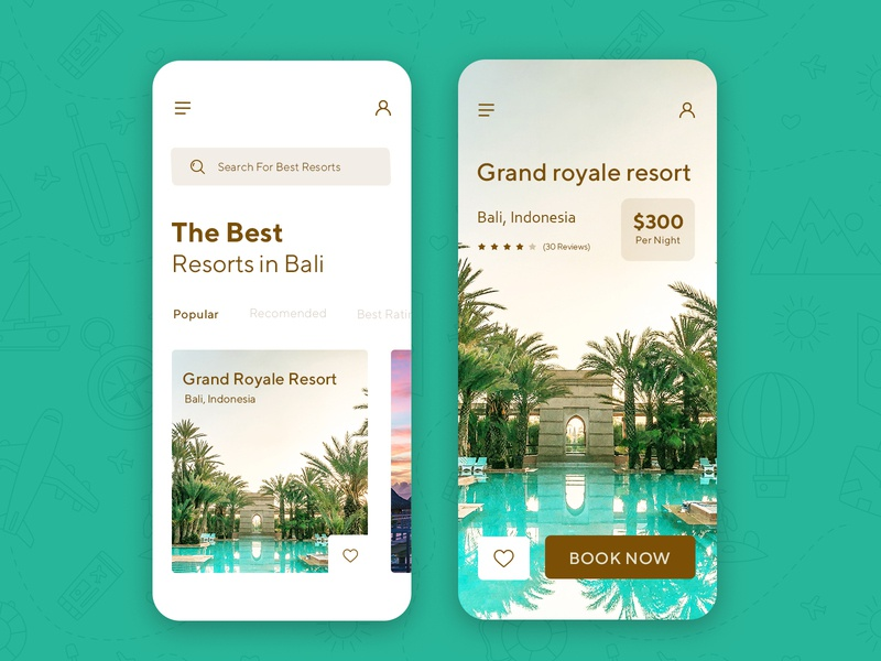 Resort Booking App Interface