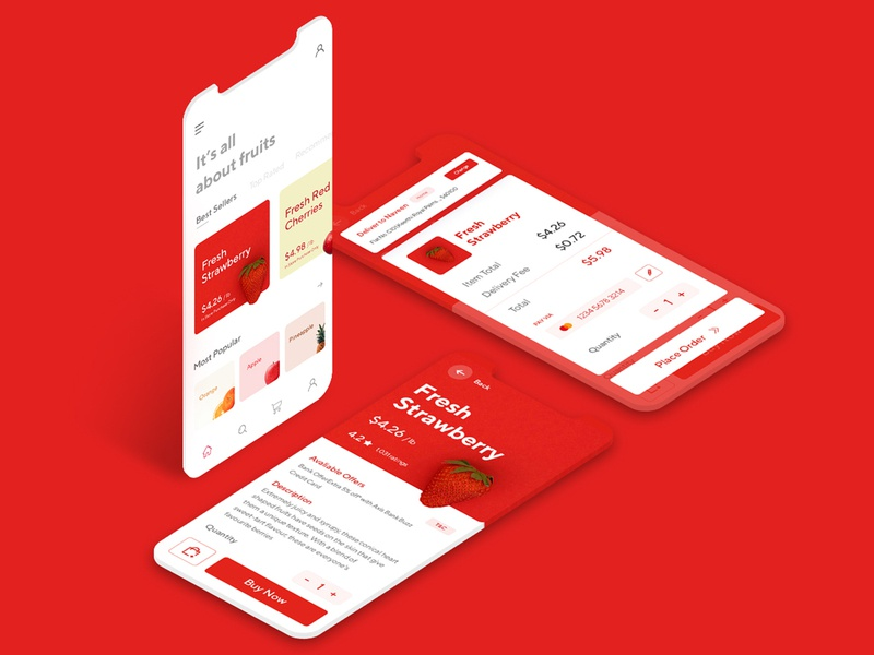 Fruit App Interface 2 app mockup mockup fruit app fruit ecommerce app illustration app branding web ux ui websites minimal design