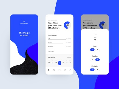 Habit-Tracking App / Daily UI daily ui minimalistic ui dailyui concept habit tracker tracker clean ui clean white blue black mobile design mobile app mobile minimalism