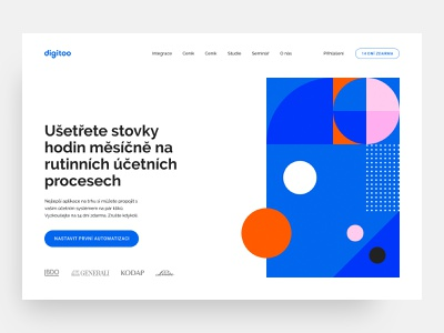 Digitoo (work in progress) clean clean ui colorful color pink blue orange webdesign contrast vivid illustration ui white abstraction abstract minimalistic landing page minimalism work in progress