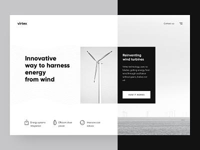 Exploration / Daily UI dailyui daily ui concept wind turbine energy wind ui landing page minimalistic minimalism white black monochrome