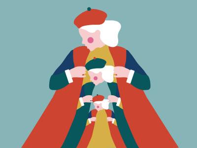Lady Matrioska style woman flat minimal colors illustrator illustration