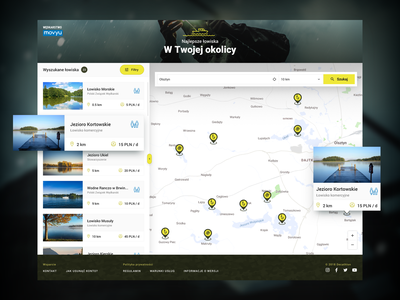 Movyu Fishery Map design ux user inteface user experience ui application sketch stxnext stx lakes fishery movyu filters decathlon tiles sidebar search location geolocalisation map