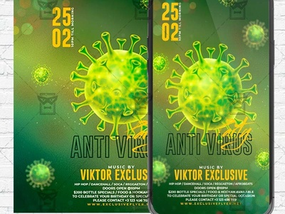 Anti Virus Party Flyer PSD - Optimized for Instagram