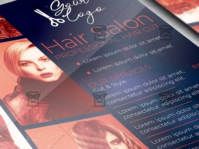 Hair Dresser - Flyer PSD Template style hair