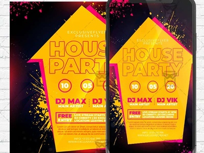 House Party Flyer PSD - Optimized for Instagram stay home party flyer stay home party flyer