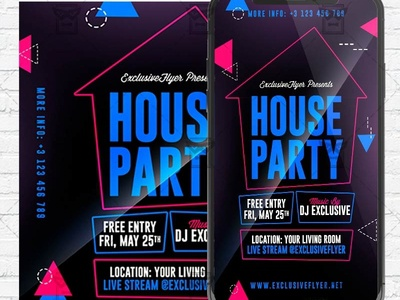 Stay Home Party Flyer PSD - Optimized for Instagram stay home party flyer