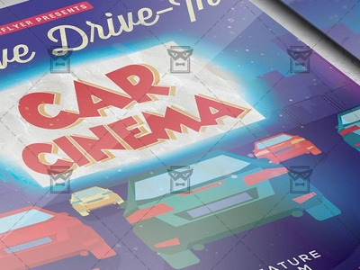 Drive-In Car Cinema - Flyer PSD Template open air cinema